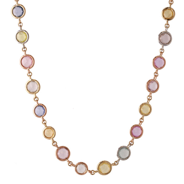Beachfire Necklace with Multi pastel colored Sapphires - Mixed Metal