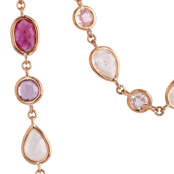 Beachfire Necklace with Pink Sapphires - 18K Yellow Gold