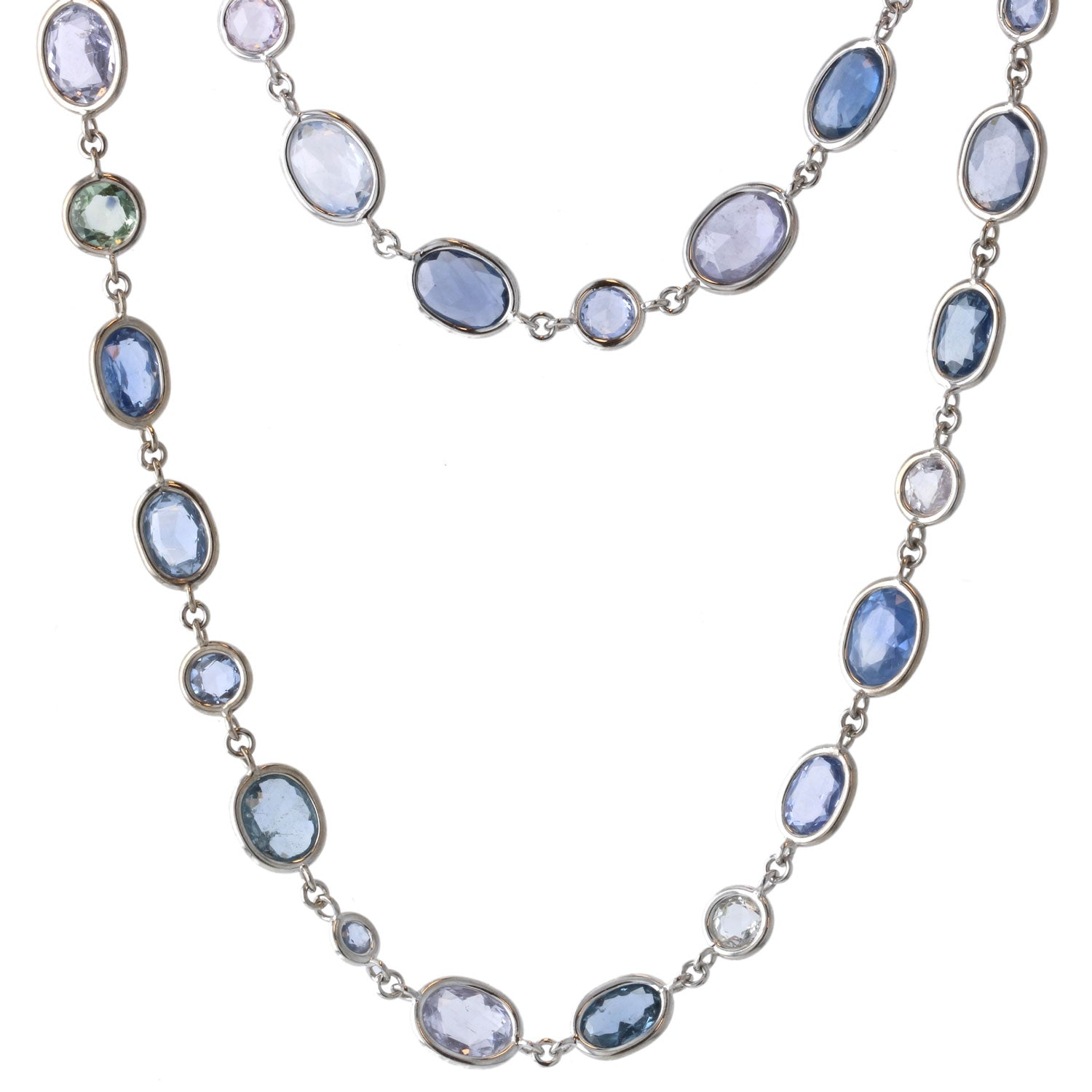 Beachfire Necklace with Blue Sapphires - 18K White Gold