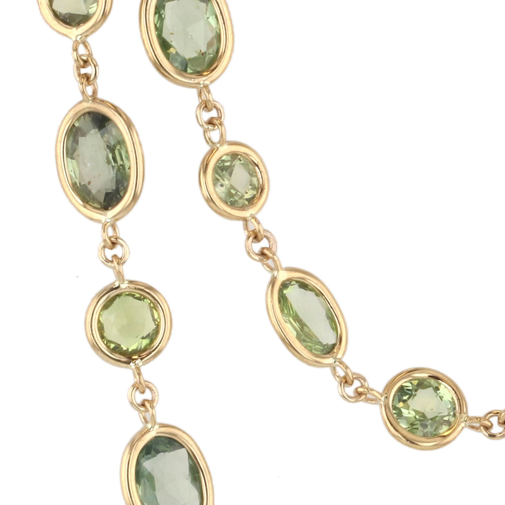 Beachfire Necklace with Green Sapphires - 18K Yellow Gold