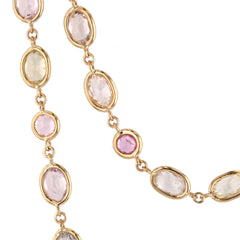Beachfire Necklace with Multi pastel colored Sapphires - 18K Yellow Gold