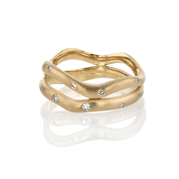 Wave Band with Diamonds Double - 18K Yellow Gold
