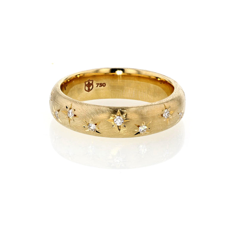 Gold Band with Star engraved Diamonds 5mm wide - 18K Yellow Gold