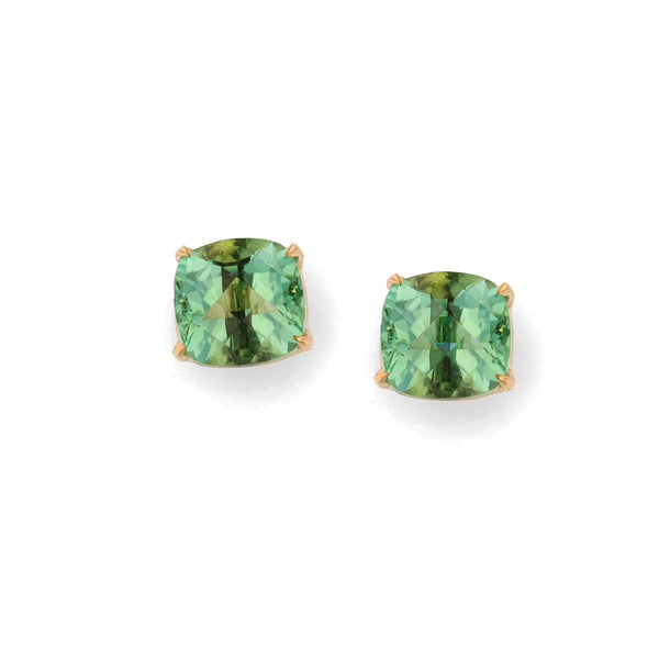 Green Tourmaline Stud Earrings-18K Yellow Gold