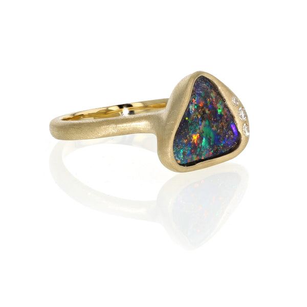 Triangle Boulder Opal in - 18k Yellow Gold