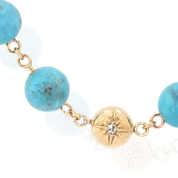 Turquoise beaded necklace - 18K yellow gold