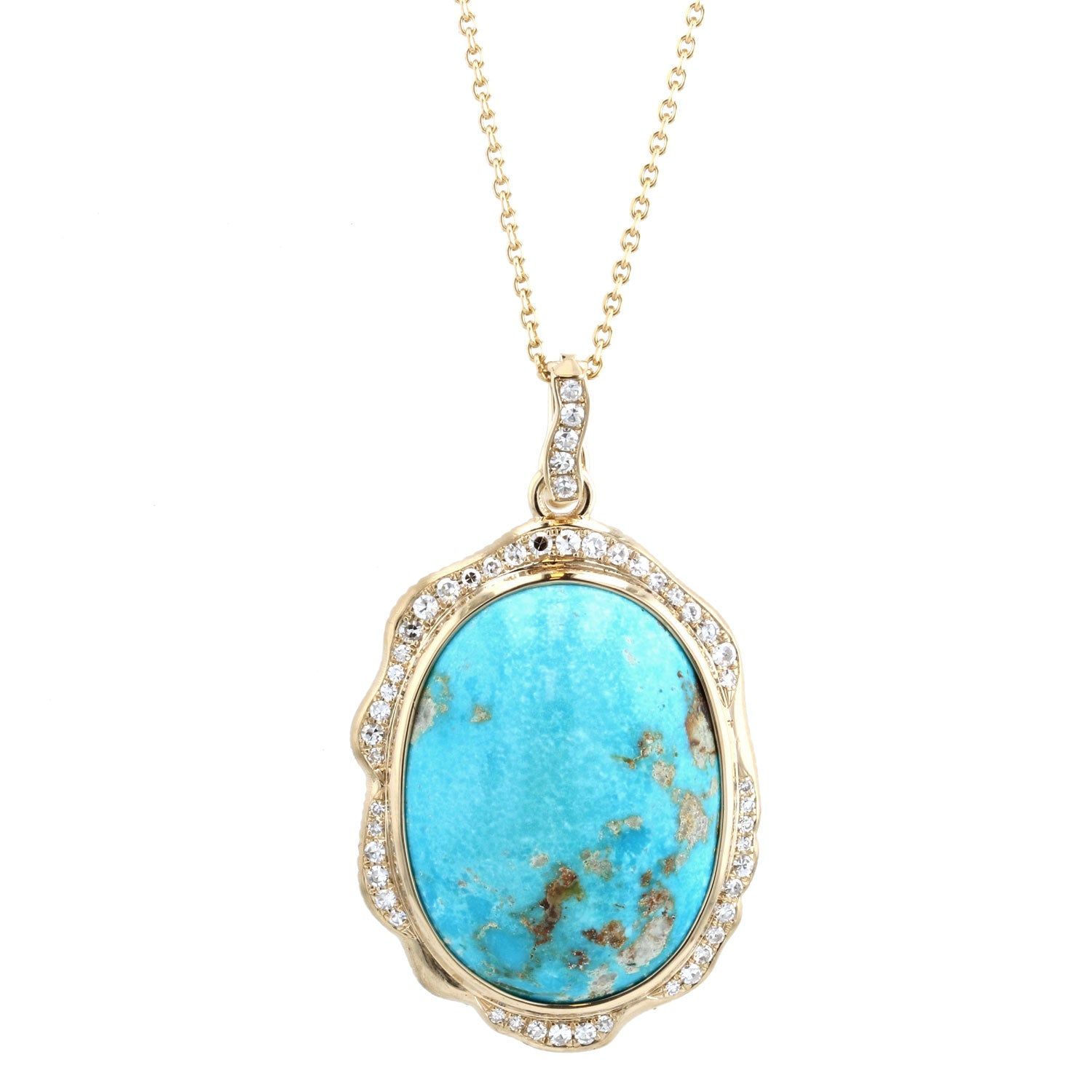 Persian Turquoise and Diamond Necklace - 18K Yellow gold