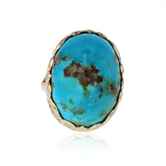 Persian Turquoise and diamond ring 18K yellow gold