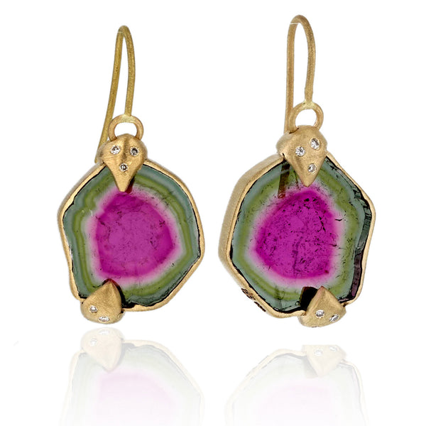 Watermelon Tourmaline Earrings-18k Yellow gold