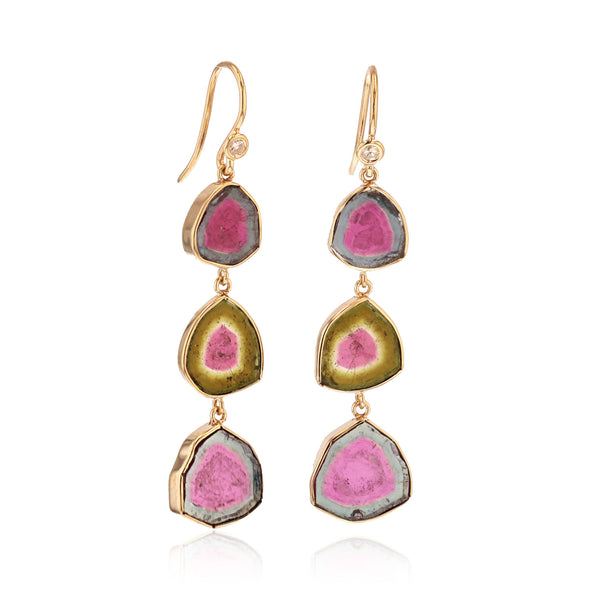 Watermelon Tourmaline Earrings triple stone -18k Yellow gold