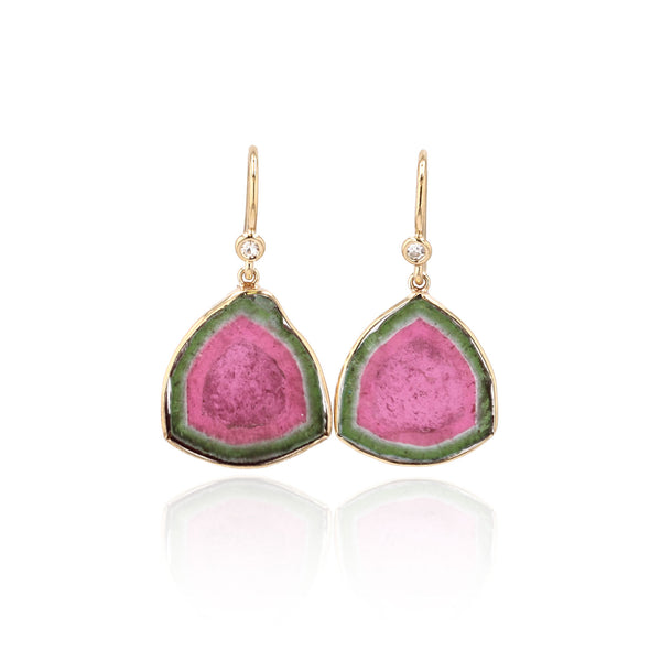 Watermelon Tourmaline Earrings Single stone -18k Yellow gold