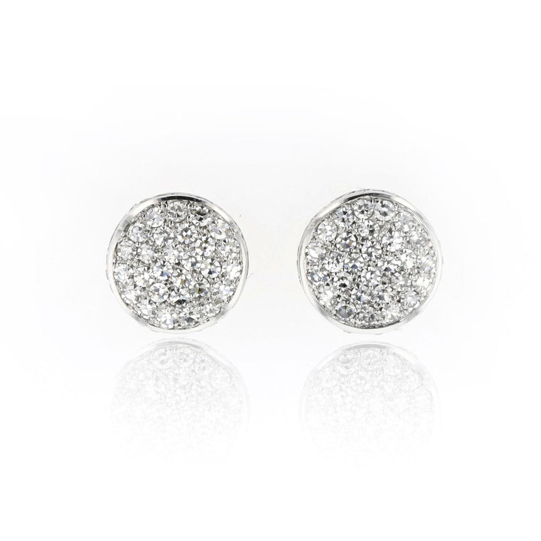 Button Stud Earrings with Diamonds 18K white Gold