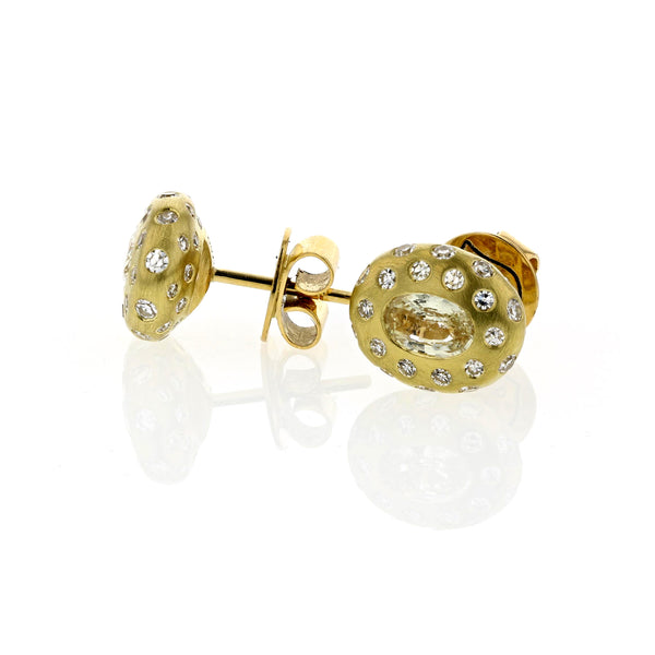 Breeze White Sapphire And Diamond Studs - 18k Yellow Gold