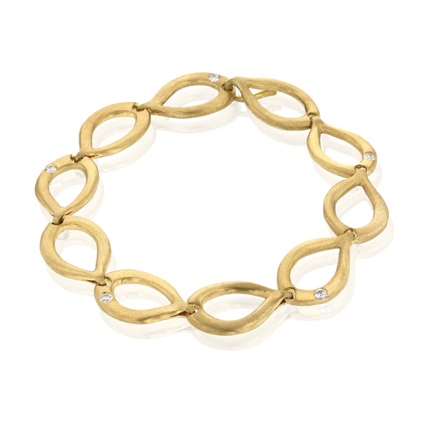 Slinky Link 18K Yellow Gold and Diamond Bracelet