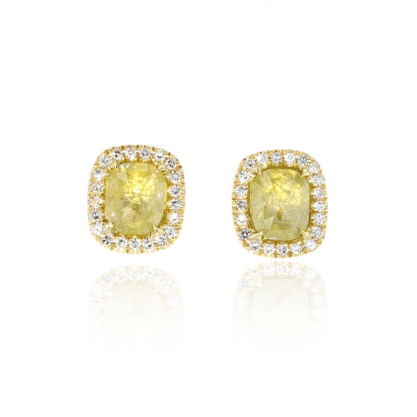 Rustic yellow Diamond Earrings - 18K yellow gold