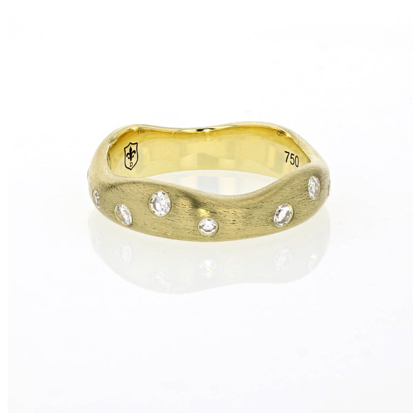 Gold Band with Gypsy set Diamonds  - 18K Yellow Gold