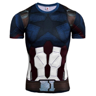 Superhero Compression T-Shirts - Men's Crew Neck - Captain America - Aesthetic Cosplay, LLC