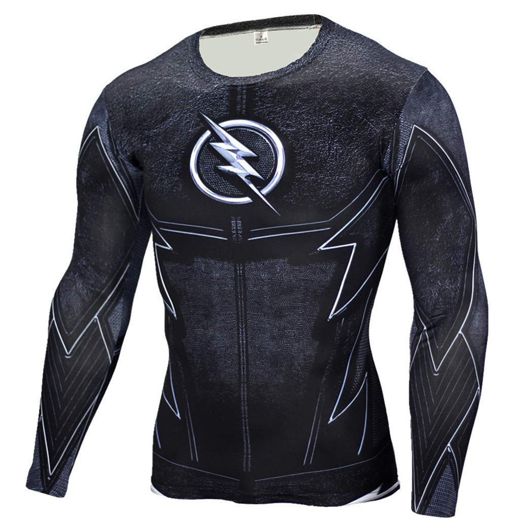 Superhero Compression T-Shirts - Men's Crew Neck - The Flash - Aesthetic Cosplay, LLC