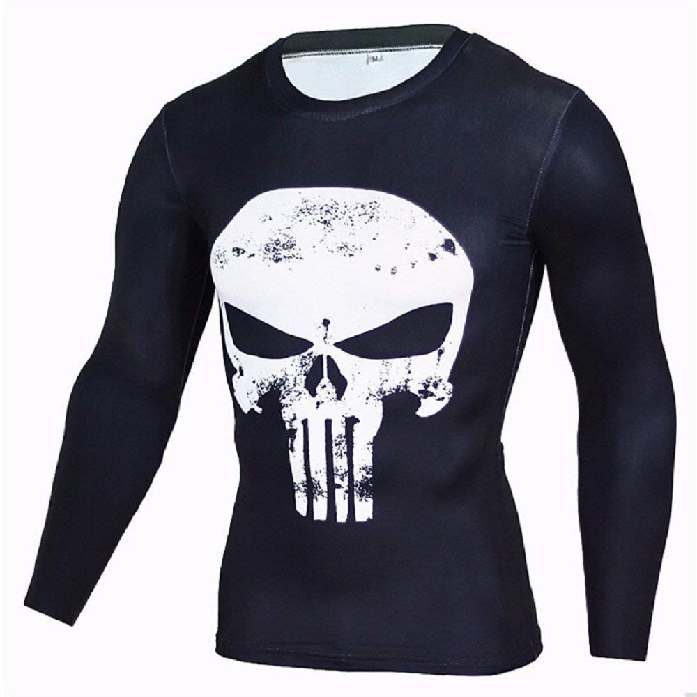 Superhero Compression T-Shirts - Men's Crew Neck - The Punisher - Aesthetic Cosplay, LLC