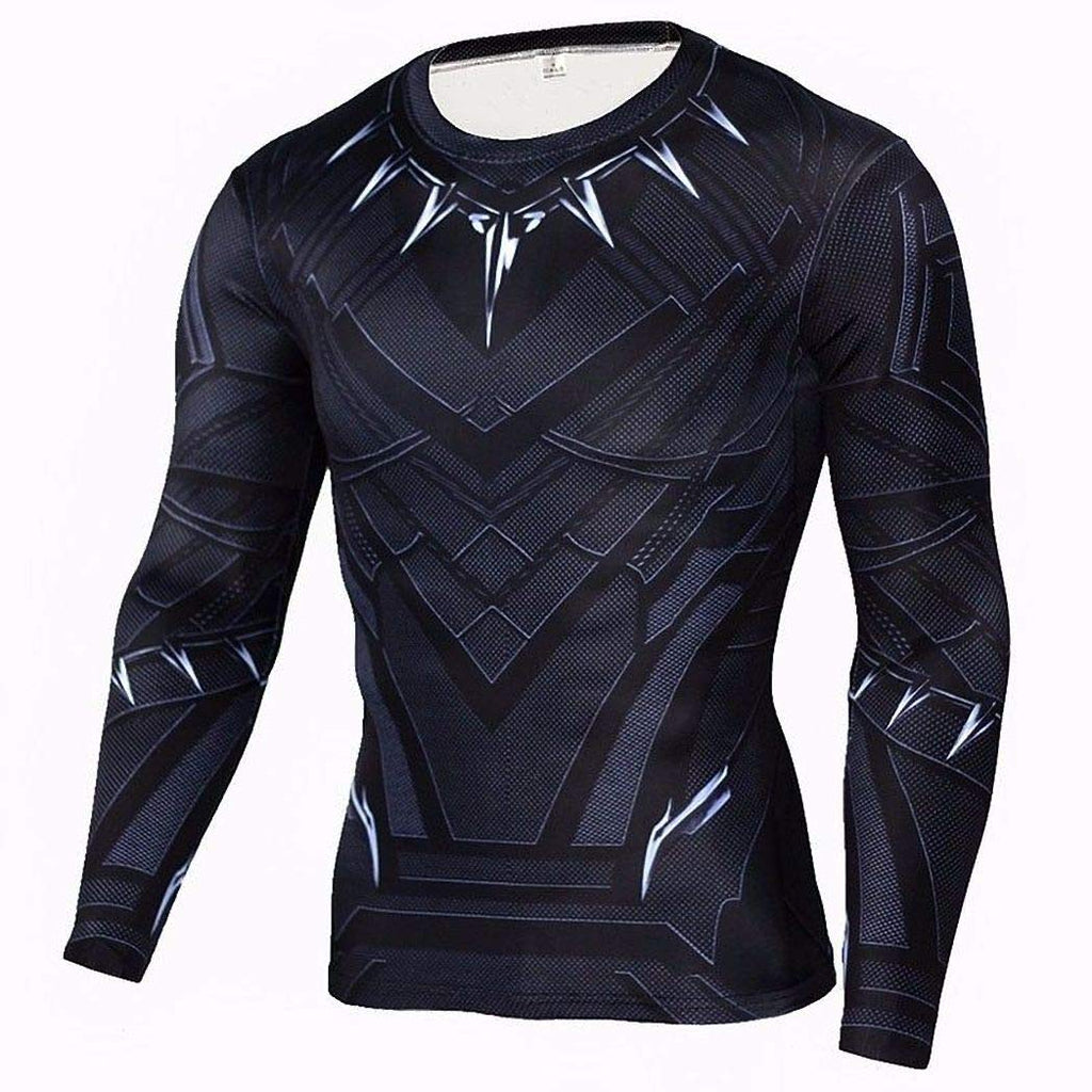 Superhero Compression T-Shirts - Men's Crew Neck - Black Panther - Aesthetic Cosplay, LLC
