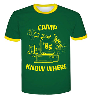 Stranger Things 3 Camp Know Where Crew Neck T-Shirt - Aesthetic Cosplay, LLC