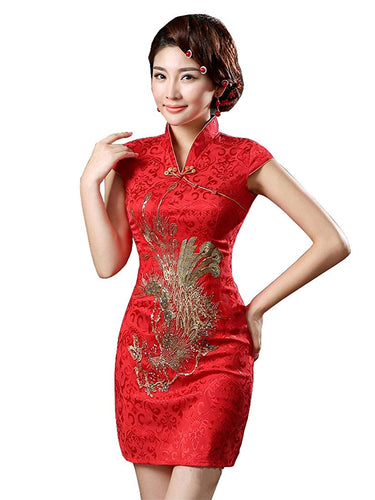 Red and Gold Phoenix Brocade Cheongsam Dress - Aesthetic Cosplay, LLC