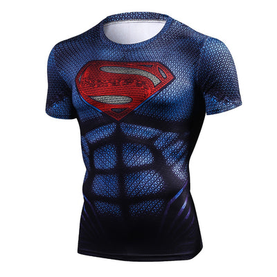 Superhero Compression T-Shirts - Men's Crew Neck - Superman Man of Steel - Aesthetic Cosplay, LLC