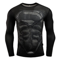 Superhero Compression T-Shirts - Men's Crew Neck - Superman Black Suit - Aesthetic Cosplay, LLC