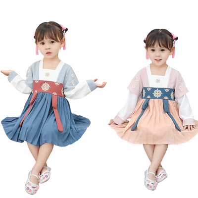 Childrens Chinese New Year Dress Short Sleeve Cheongsam Hanfu Dress Cute Costume for Girls