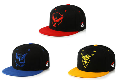 Pokemon Go Team Embroidered Snapback Caps - Aesthetic Cosplay, LLC