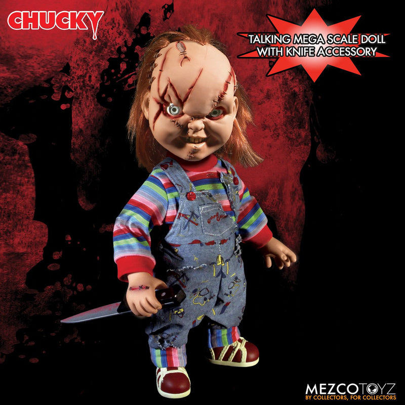 "Childs Play Official Chucky Scarred Face 15"" SFX Doll by Mezco Toyz"