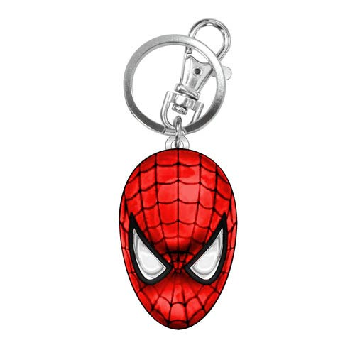 MARVEL Spider-Man Head Official Colour Pewter Keychain by Monogram