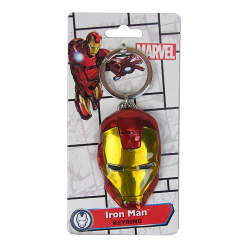 MARVEL Iron Man Helmet Official Coloured Pewter Keychain by Monogram