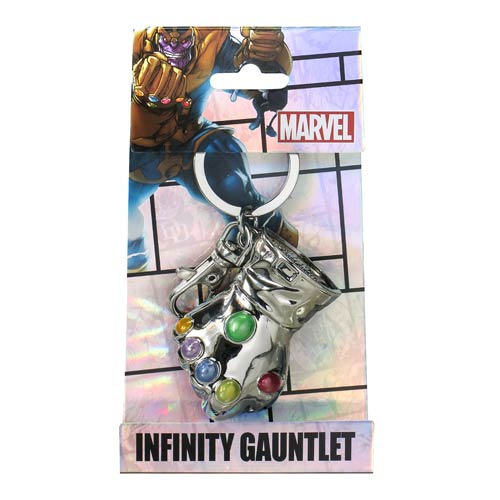 MARVEL Official Thanos Infinity Gauntlet Pewter Keychain by Monogram