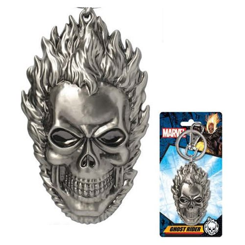 MARVEL Ghost Rider Official Flaming Skull Pewter Keychain by Monogram