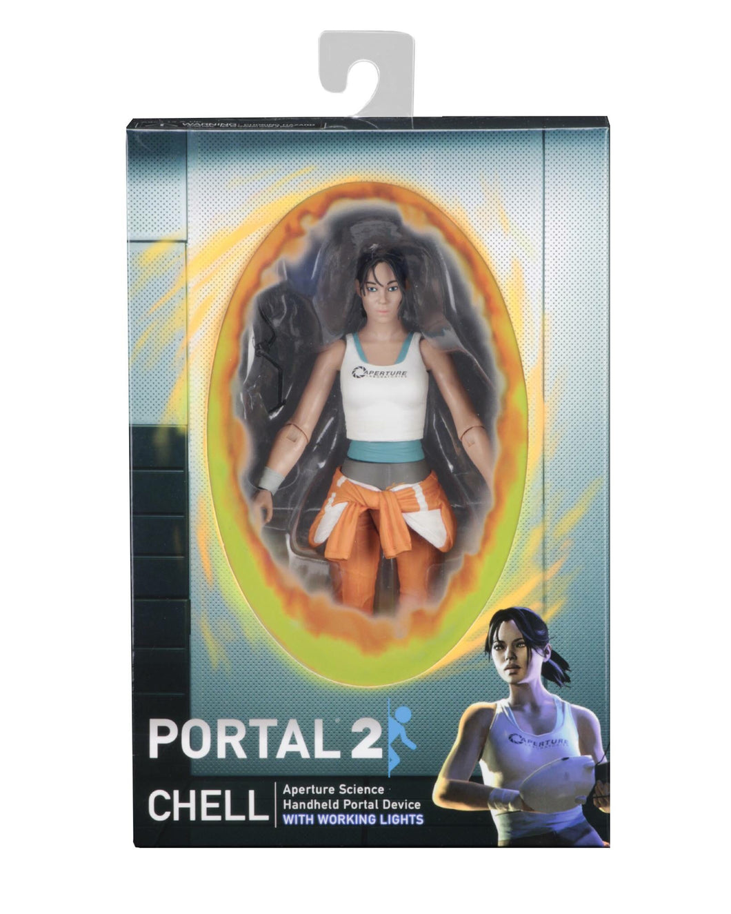 Portal Chell Official Figure with Light Up Handheld Portal Device NECA