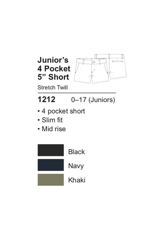 Junior's Short with 2 Back Welt Pockets