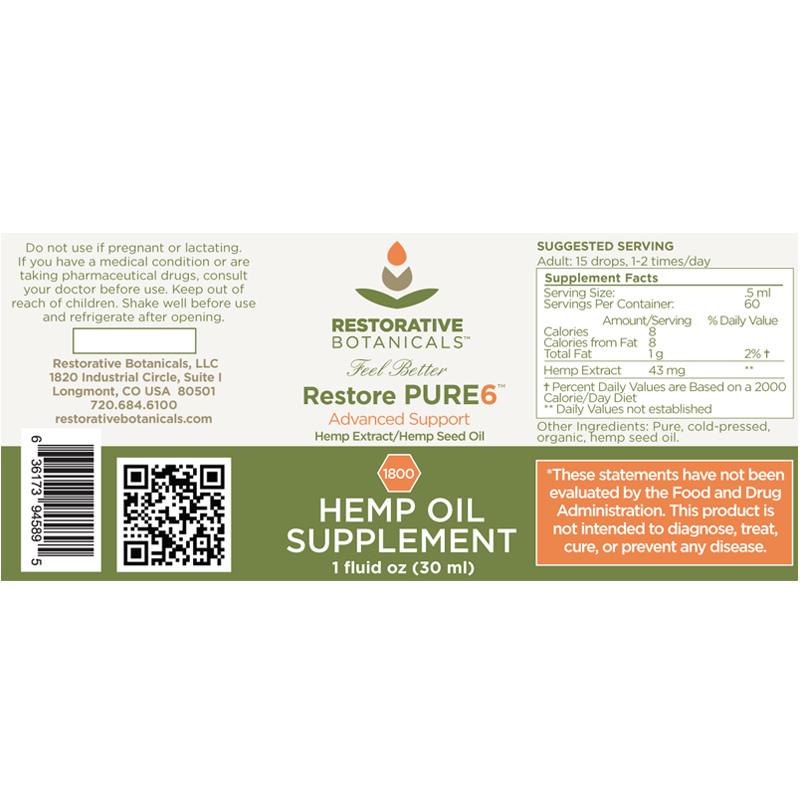 Restore PURE6™ Hemp Oil Extract – Advanced Blend
