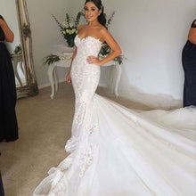 Strapless Mermaid Long Tulle Wedding Dress Lace Appliques Big Tail