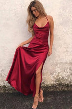 Slit Long Red Satin Prom Dress Halter Neck Floor Length Women Dress
