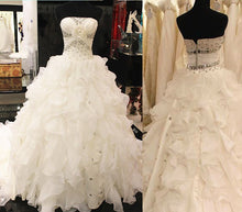 Strapless Ball Gown Organza Wedding Dress Crystals Women Vestido de Novia