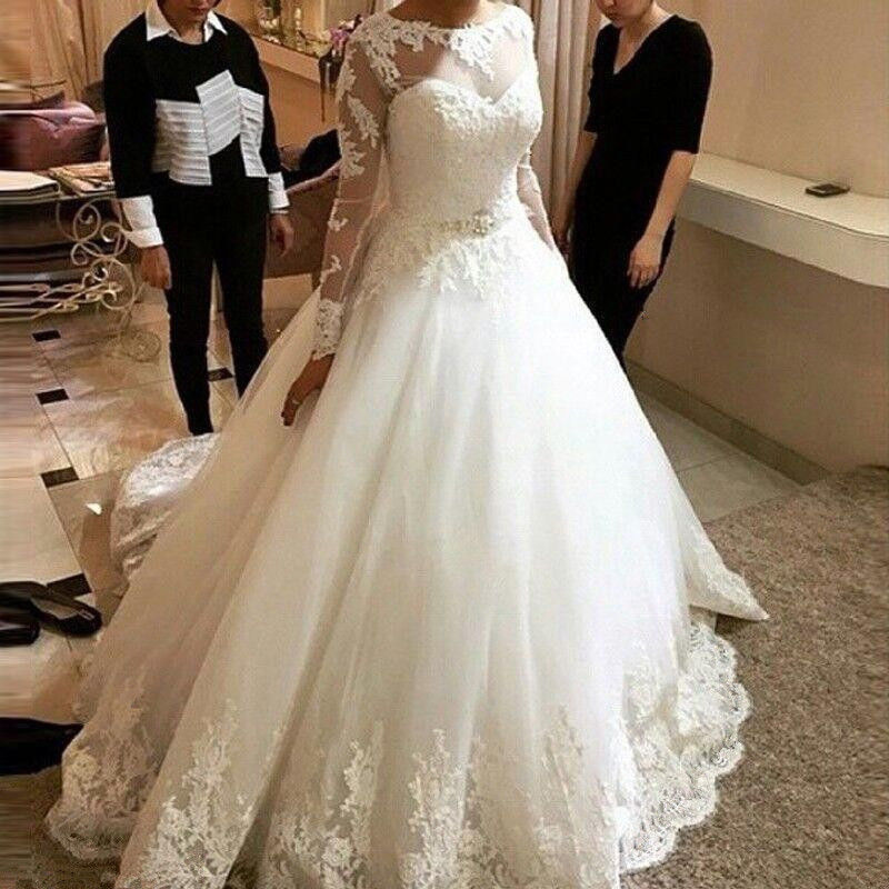 Scoop Neck A-line Long Tulle Wedding Dress Long Sleeves Women Bridal Gowns