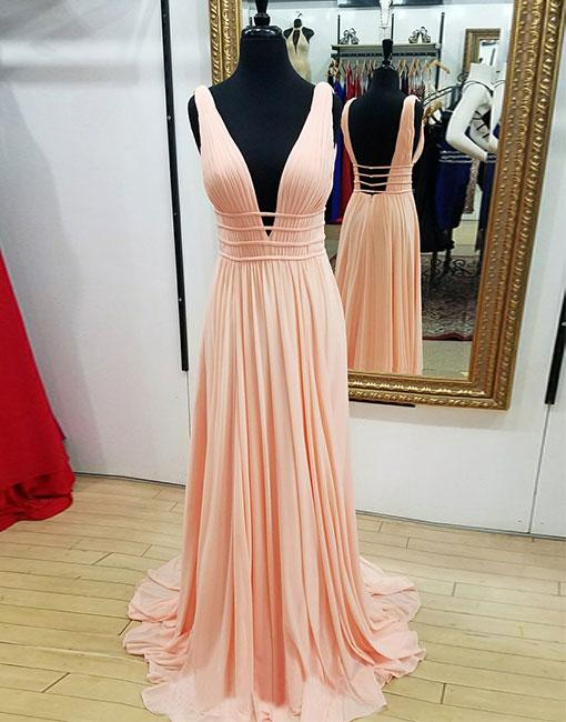 Deep V Neck long Chiffon Pink Prom Dress Open Back Women Evening Dress