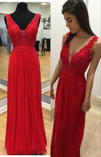 V Neck Long Red Chiffon Prom Dress with Lace Appliques