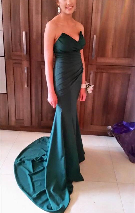 Strapless Mermaid Satin Prom Dress Long Pleated Floor Length Evening Dress 2019