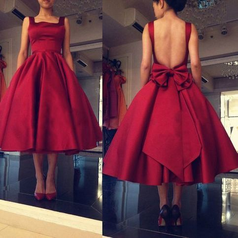 Open Back Mid-calf Red Satin Prom Dress Spaghetti Straps