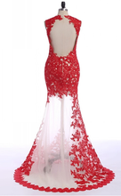 Sexy Mermaid Red Lace Floor Length Women Prom Dress Tulle Evening Dress 2019