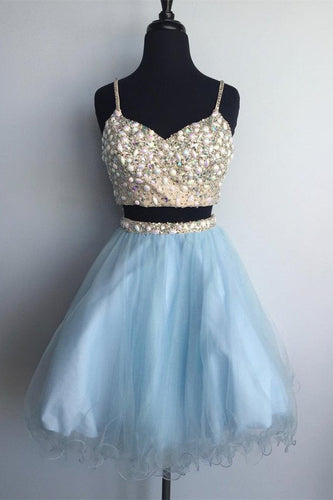 2 Pieces Short Blue Tulle Homecoming Dress Spaghetti Straps Beaded Women Dress