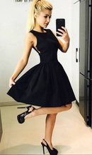Sleeves Above Knee Mini Black Satin Homecoming Dress