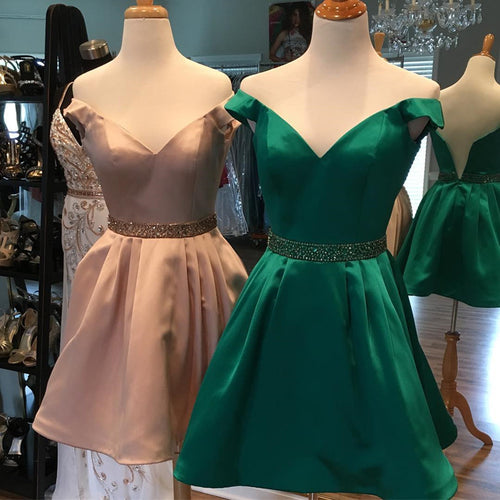 Above Knee Mini Satin Homecoming Dress Off the Shoulder Women Party Dress